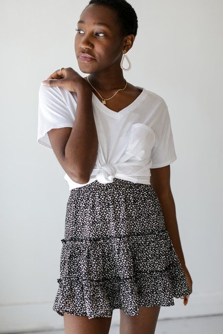 Black - Spotted Tiered Skirt
