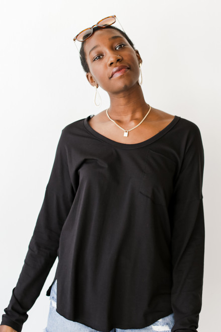 Black - Long Sleeve Pocket Tee