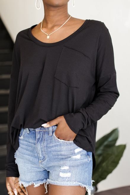 Black - Long Sleeve Pocket Tee from Dress Up