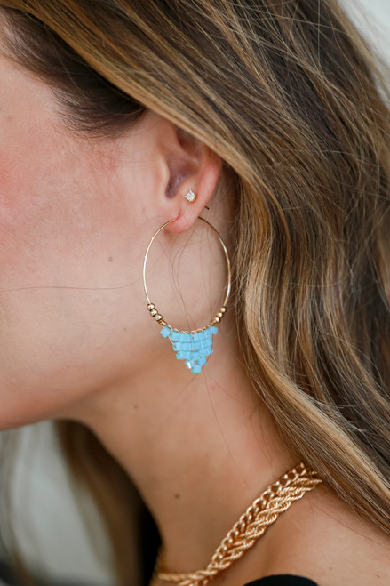 Light Blue - Beaded Hoop Earrings