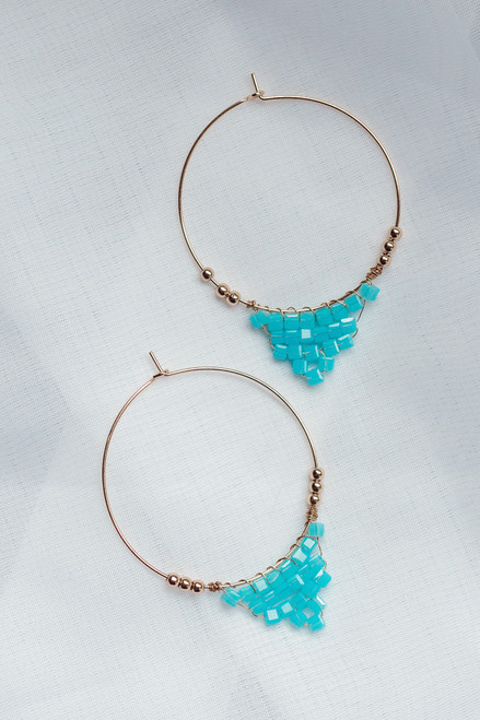 Light Blue - Beaded Hoop Earrings from Dress Up