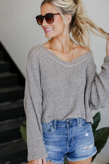 Taupe - Knit Top from Dress Up