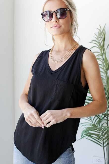 Black - Relaxed Fit Pocket Tank