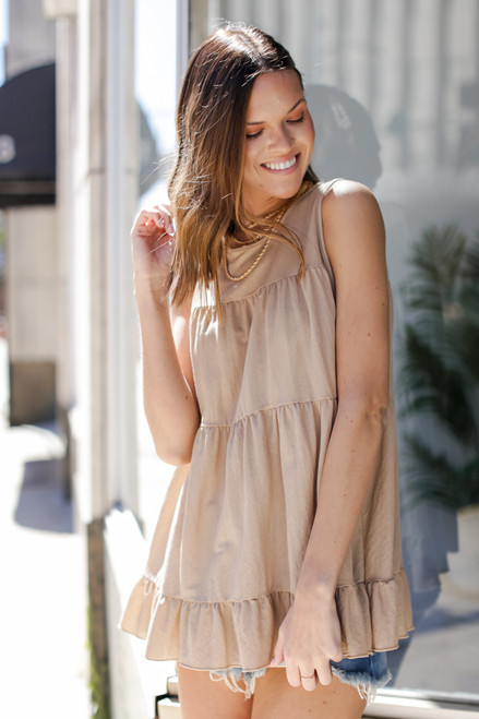 Taupe - Tiered Ruffle Tank