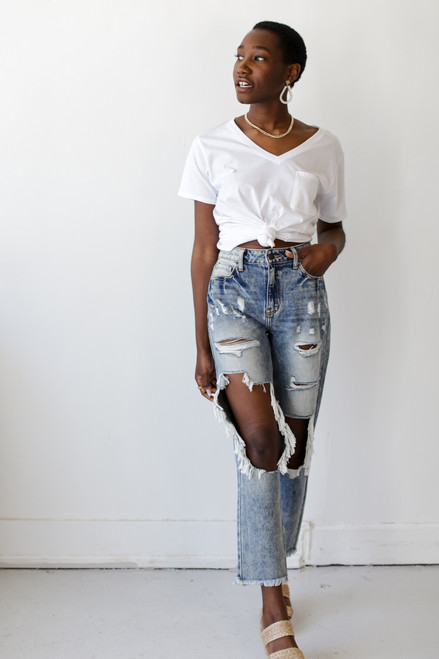 Medium Wash - High Waist Distressed Boyfriend Jeans from Dress Up