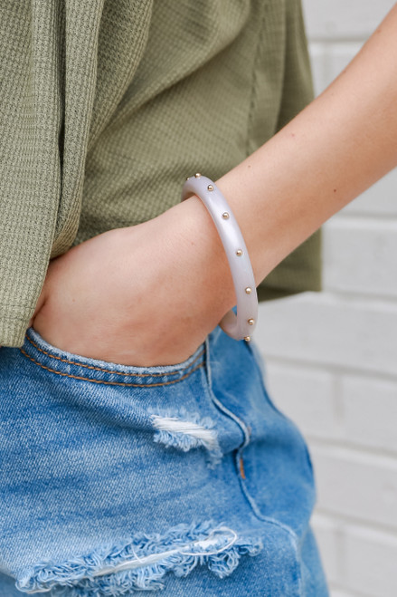 Grey - Studded Bangle