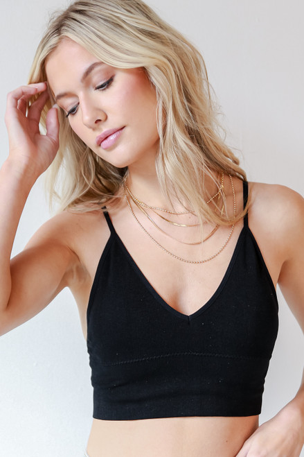 Black - Padded Ribbed Bralette from Dress Up