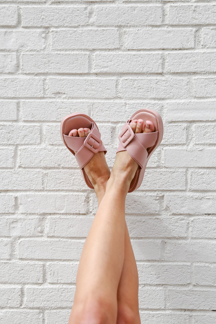 Blush - Buckled Slide Sandals