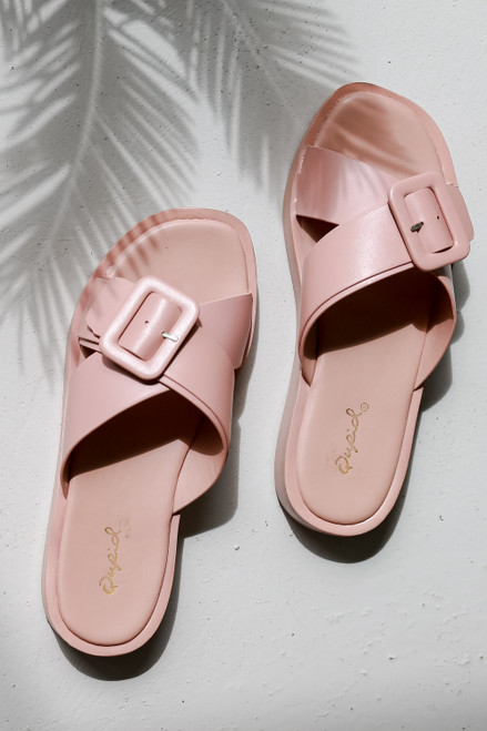 Blush - Flat Lay of Blush Buckled Slide Sandals