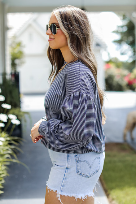 Navy - Striped Pullover Side View