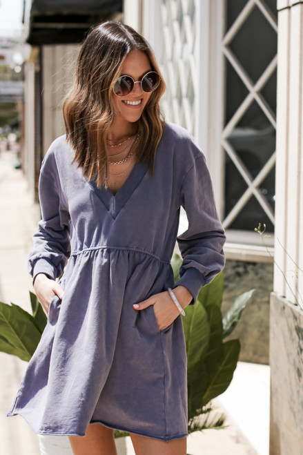 Blue - Babydoll Sweatshirt Dress