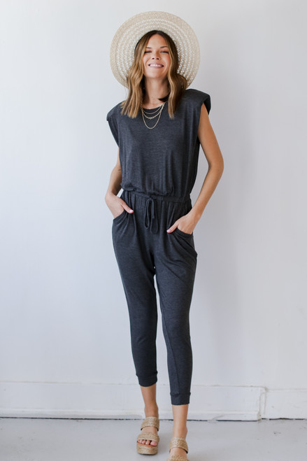 Charcoal - Shoulder Pad Jumpsuit