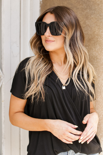 Black - Surplice Tee from Dress Up