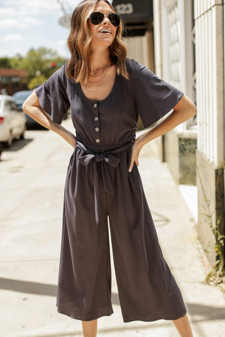 Charcoal - Wide Leg Jumpsuit