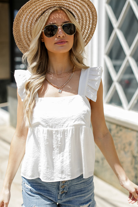 White - Ruffled Babydoll Tank from Dress Up