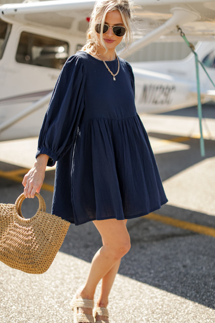 Navy - Linen Babydoll Dress