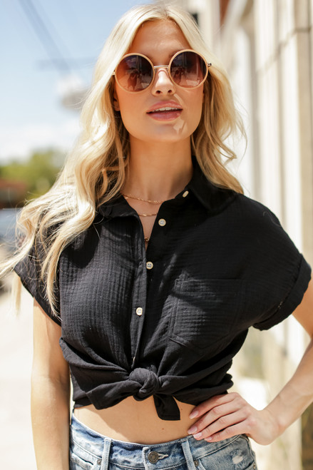 Black - Cropped Linen Blouse from Dress Up