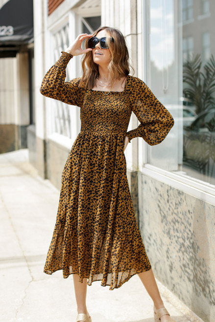 Leopard - Smocked Midi Dress