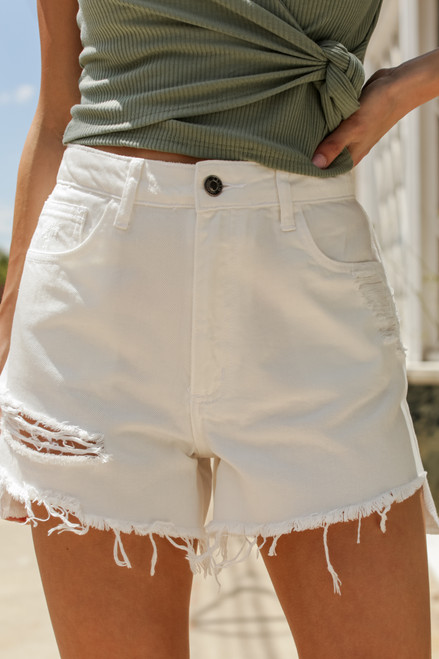 White - Distressed Denim Shorts