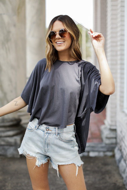Charcoal - Scoop Hem Tee