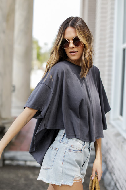 Charcoal - Scoop Hem Tee from Dress Up
