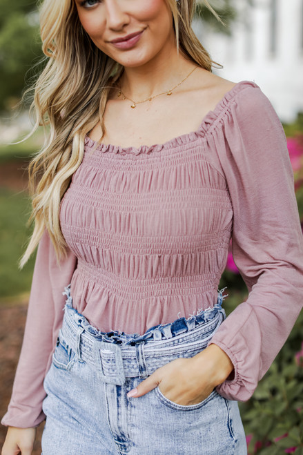 Mauve - Model wearing a Smocked Blouse