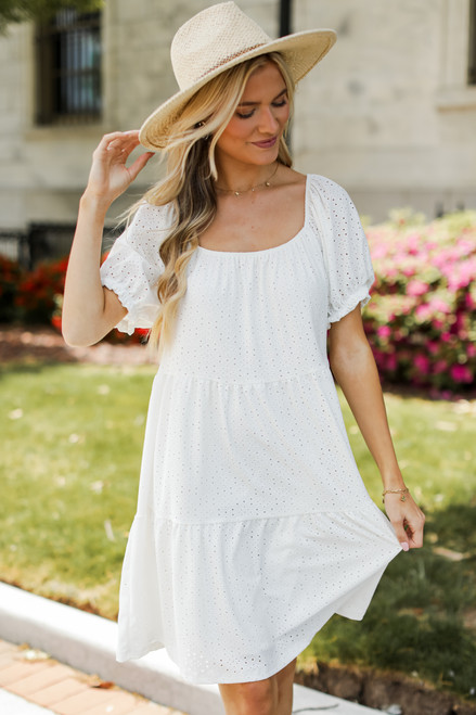 White - Model wearing an Eyelet Tiered Dress