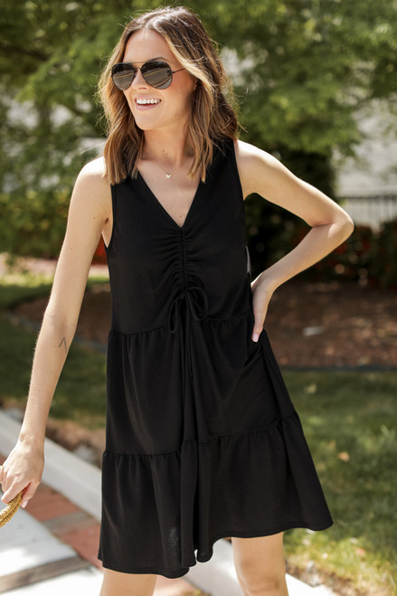 Black - Ruched Tiered Dress from Dress Up