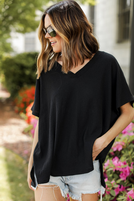 Black - Textured Oversized Top
