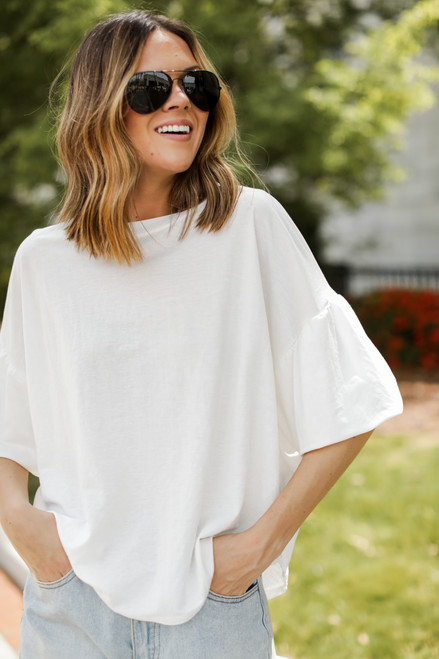 White - Puff Sleeve Top