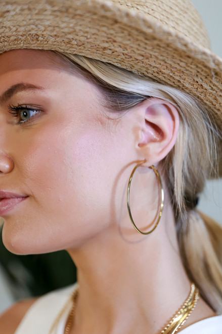 Gold - Medium Hoop Earrings