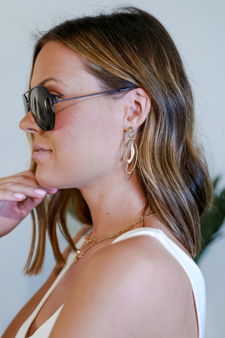 Gold - Model wearing Gold Statement Drop Earrings