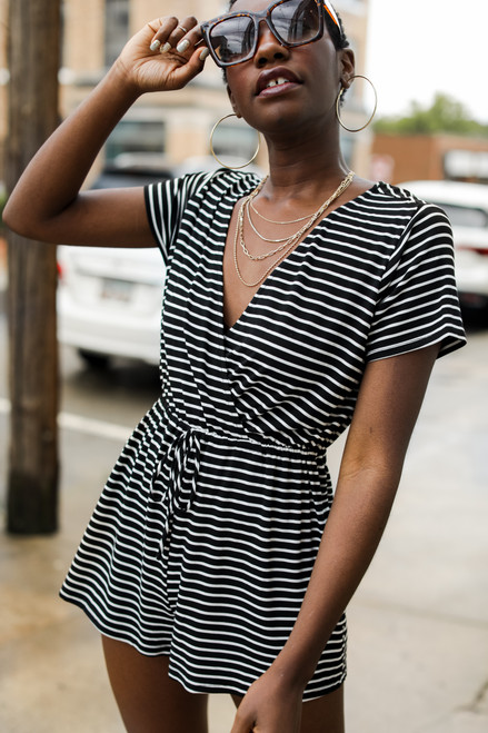 Black - Striped Surplice Romper