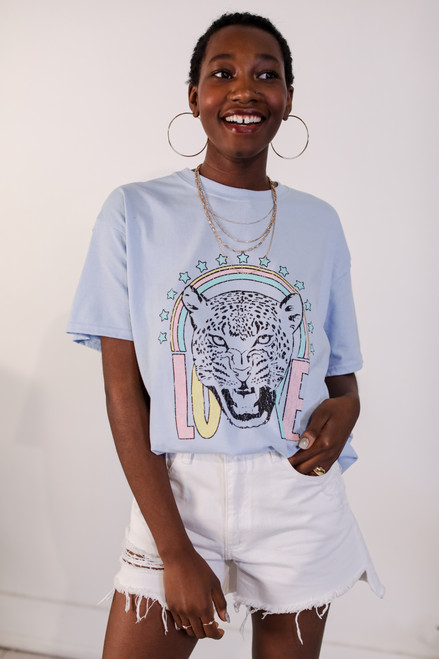 Light Blue - Tiger Love Graphic Tee