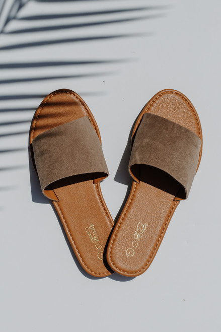 Taupe - Slide Sandals from Dress Up