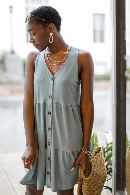 Denim - Button Front Tiered Dress