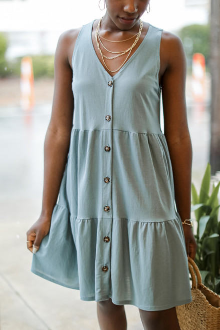 Denim - Button Front Tiered Dress from Dress Up