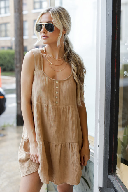 Taupe - Linen Dress