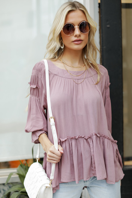 Mauve - Ruffled Tunic Blouse