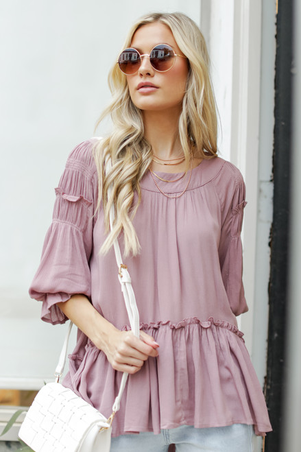 Mauve - Ruffled Tunic Blouse from Dress Up