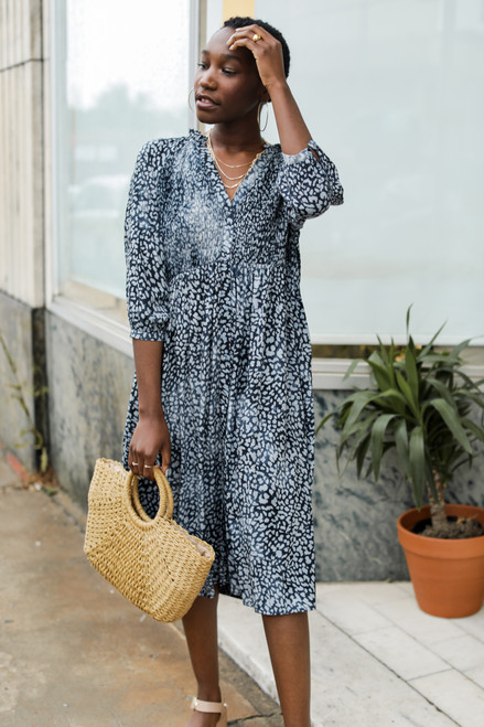 Navy - Leopard Midi Dress from Dress Up