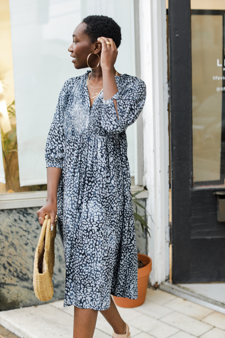 Navy - Leopard Midi Dress