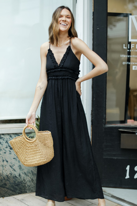 Black - Ruffled Jumpsuit