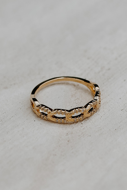 Gold - Braided Rhinestone Ring from Dress Up