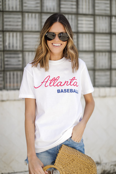 White - Atlanta Baseball Graphic Tee from Dress Up
