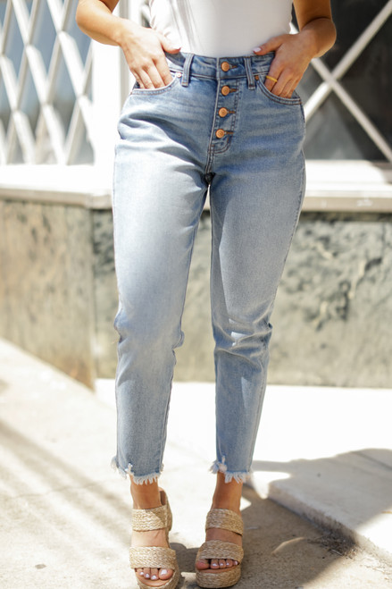 Light Wash - High Waist Straight Leg Jeans