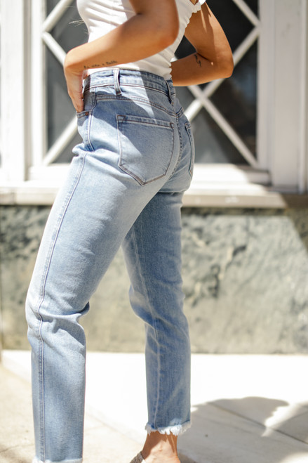 Light Wash - High Waist Straight Leg Jeans from Dress Up