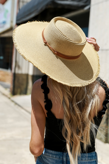 Dark Natural - Frayed Straw Boater Hat