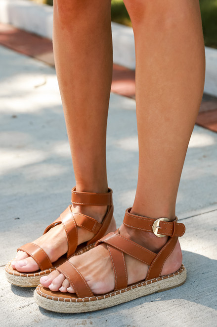 Camel - Close Up of Espadrille Sandals on model