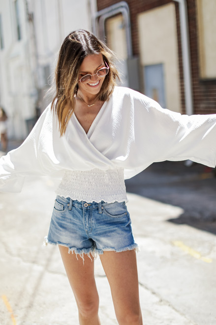White - Smocked Surplice Blouse from Dress Up